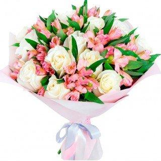 Balto rožu un alstromēriju pušķis