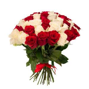 29 sarkanas un baltas rozes (pēc izvēles - 4 dažādi garumi)