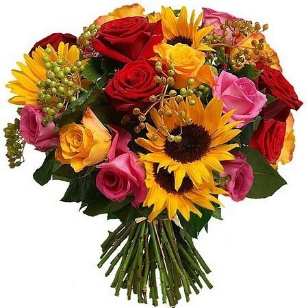 Saulespuķu un rožu pušķis