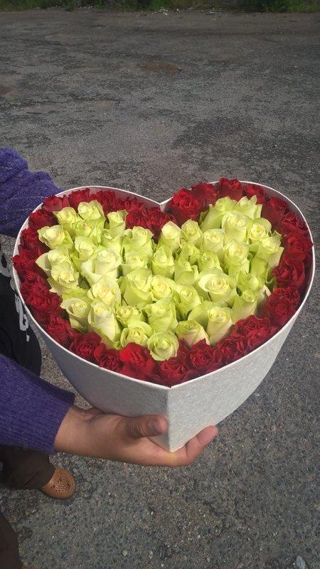 Sarkanas un baltas rozes sirds formas kastē