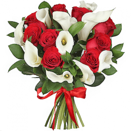 Rožu un kallu pušķis