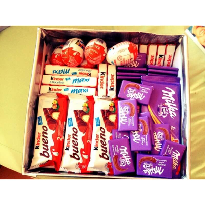 Kinder un Milka saldumi dāvanu kastē