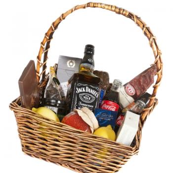 Augļu, saldumu un ēdienu grozs ar viskiju Jack Daniels 40%