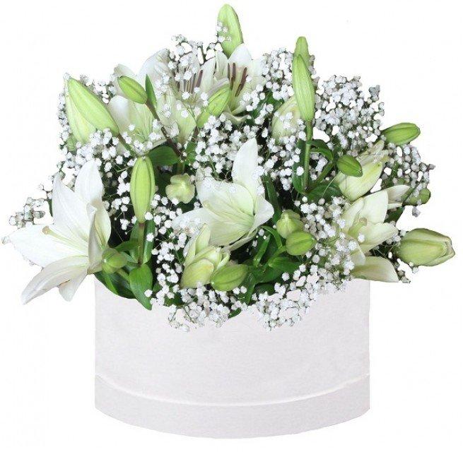 Lilijas ar zaļumiem dāvanu kastē