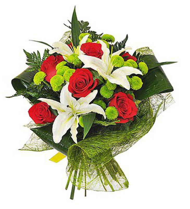 Pušķis no rozēm, lilijām un krizantēmām