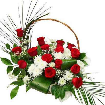 Rožu un krizantēmu grozs 2