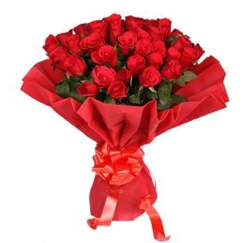 Sarkano rožu pušķis sarkanā iepakojumā