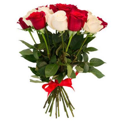 19 sarkanas un baltas rozes (pēc izvēles - 4 dažādi garumi)