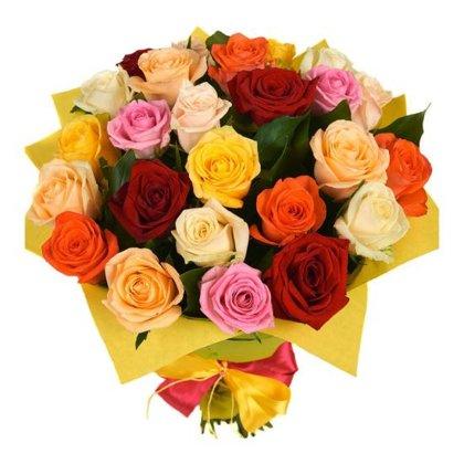 25 dažādu krāsu rozes iepakojumā (40 cm)
