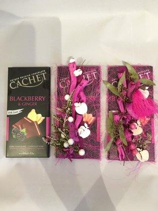Šokolāde ar ziedu noformējumu (100 g)