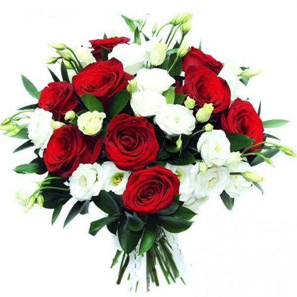 Sarkano rožu un balto lizanšu (eustoma) pušķis