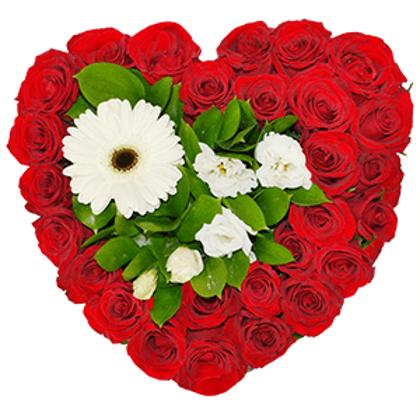 Rožu un gerberu sirds